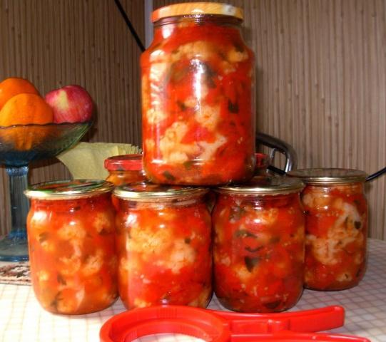 рецепт консервирования цветной капусты в томатном соусе